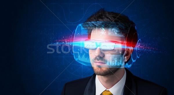 Foto d'archivio: Uomo · futuro · alto · tech · Smart · occhiali