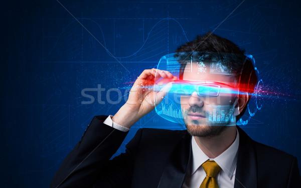Zdjęcia stock: Człowiek · przyszłości · wysoki · tech · smart · okulary
