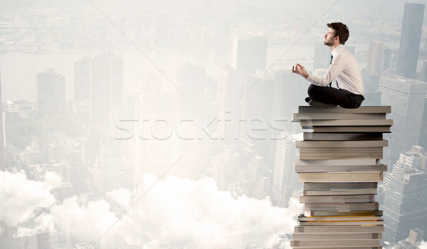 студент город сидят книгах серьезный Сток-фото © ra2studio