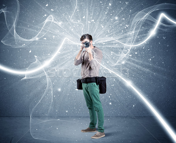 Profesional fotógrafo dinámica líneas jóvenes amateur Foto stock © ra2studio