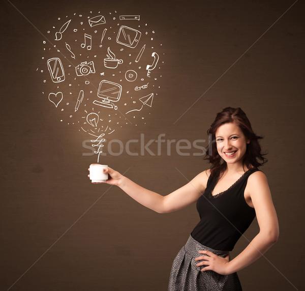 Mujer de negocios blanco taza medios de comunicación social iconos Foto stock © ra2studio