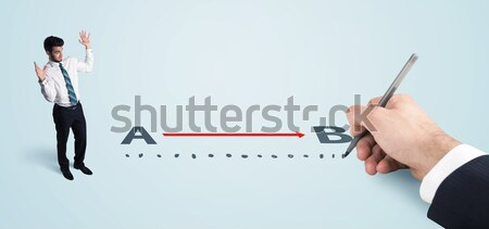 Сток-фото: деловая · женщина · глядя · красный · линия · стороны