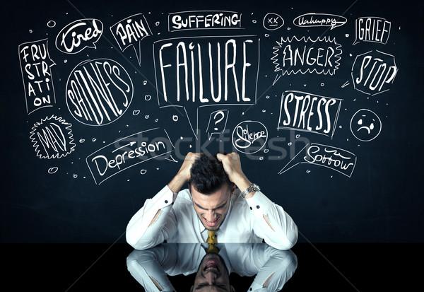 Deprimido empresario sesión problema pensamiento cajas Foto stock © ra2studio