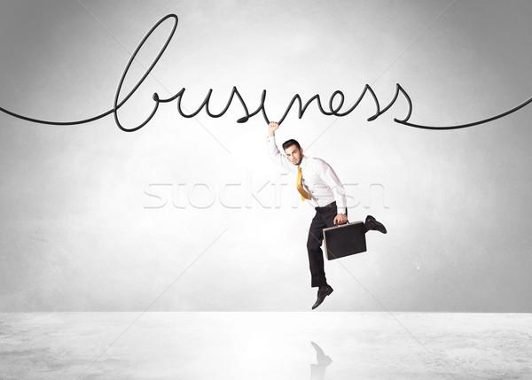 Opknoping zakenman business touw ruimte helpen Stockfoto © ra2studio