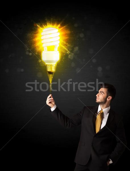 бизнесмен лампа Идея черный Сток-фото © ra2studio