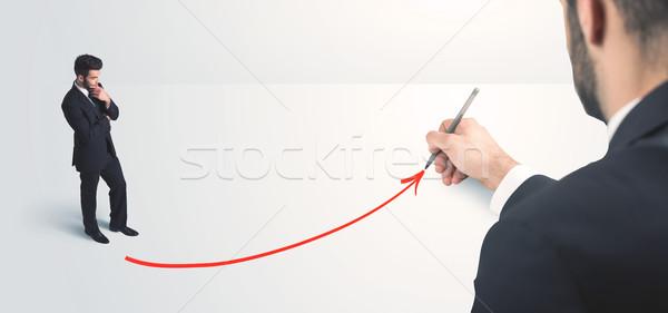Foto stock: Empresário · olhando · linha · mão · fundo