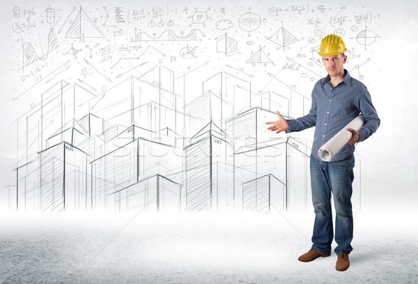 Przystojny budowy specjalista miasta rysunek działalności Zdjęcia stock © ra2studio