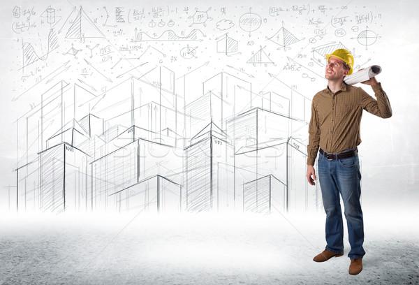Bello costruzione specialista città disegno business Foto d'archivio © ra2studio