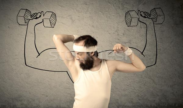 тонкий мужчины сильный молодые борода Сток-фото © ra2studio