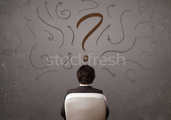 Business man looking at question mark sketch Stock photo © ra2studio