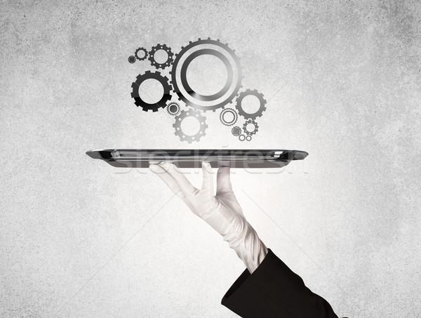 Stock photo: Working cog wheel concept on tray