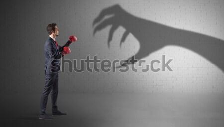 Empresário assustador mão sombra Foto stock © ra2studio