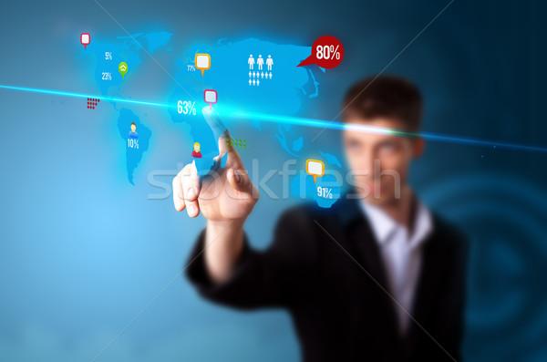 Photo stock: Affaires · médias · sociaux · bouton · numérique · carte