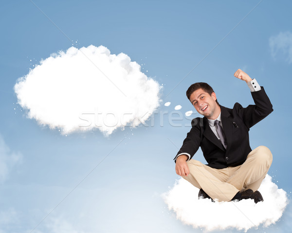 Yakışıklı genç oturma bulut düşünme soyut Stok fotoğraf © ra2studio