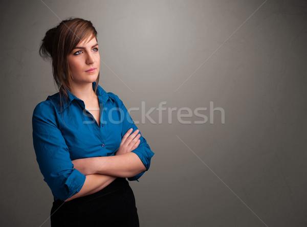 Güzel bir kadın düşünme boş bo güzel genç kadın Stok fotoğraf © ra2studio