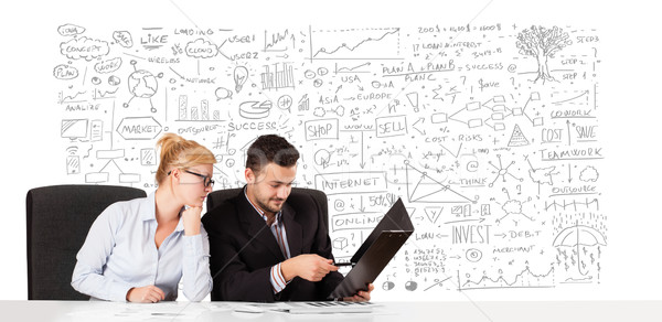 Stockfoto: Jonge · zakenman · zakenvrouw · planning · business