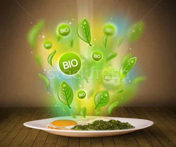 Egészséges bio zöld tányér étel koszos Stock fotó © ra2studio