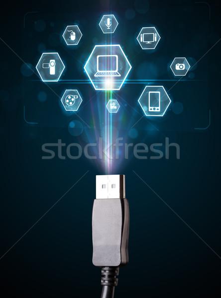 электрических кабеля мультимедийные иконки из Сток-фото © ra2studio