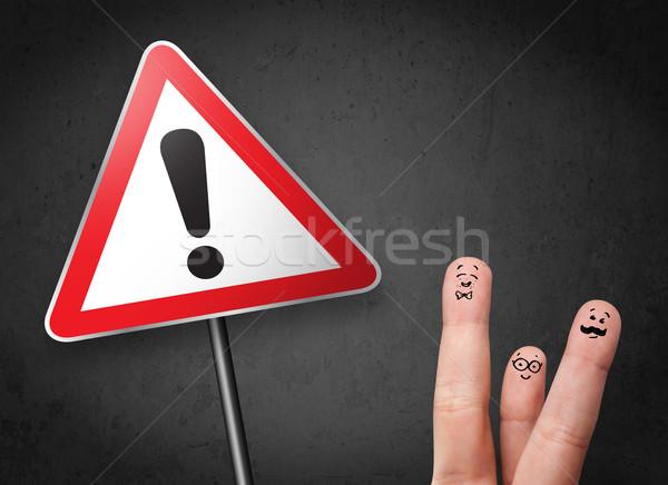 Boldog derűs emotikon ujjak néz háromszög Stock fotó © ra2studio