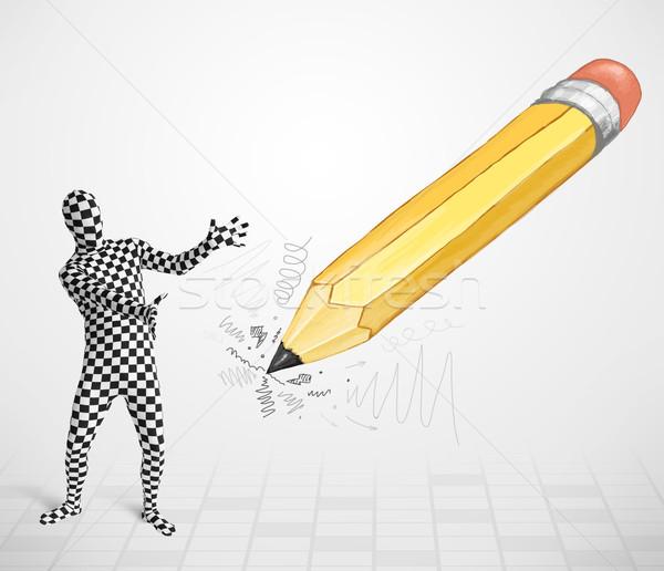 Guy Körper Maske groß Hand gezeichnet Bleistift Stock foto © ra2studio