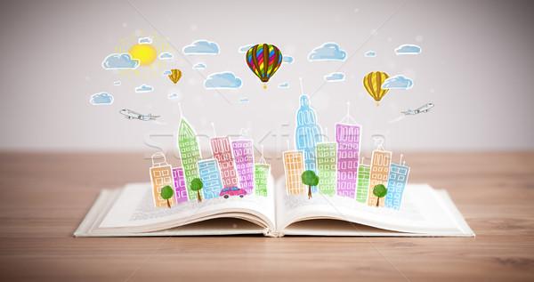 Cityscape рисунок открытой книгой красочный небе бумаги Сток-фото © ra2studio