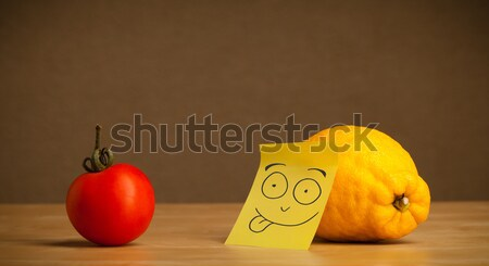 Potato with sticky post-it note looking sadly at tomato Stock photo © ra2studio