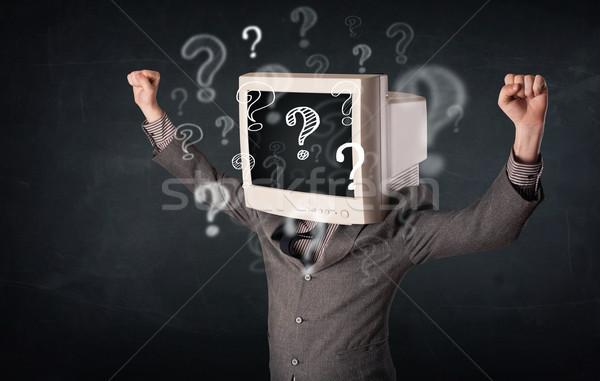Empresário monitor de computador cabeça pontos de interrogação negócio cara Foto stock © ra2studio