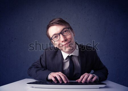 хакер рабочих клавиатура синий мыши компьютер Сток-фото © ra2studio