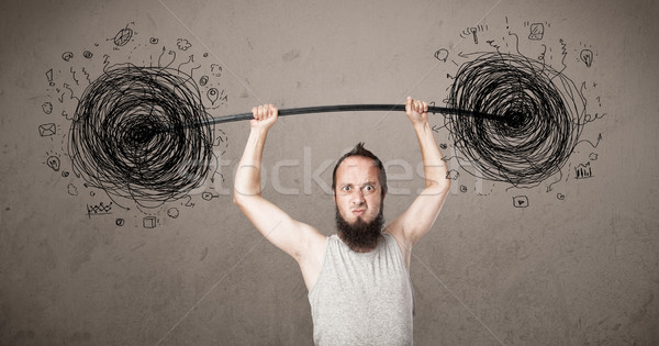 Stock fotó: Sovány · fickó · káosz · helyzet · vicces · kéz