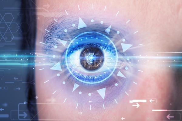 男 眼 見える 青 アイリス 現代 ストックフォト © ra2studio
