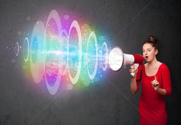 若い女の子 ラウドスピーカー カラフル エネルギー ビーム かわいい ストックフォト © ra2studio