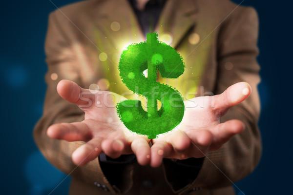 Jonge zakenman presenteren groene dollarteken Stockfoto © ra2studio