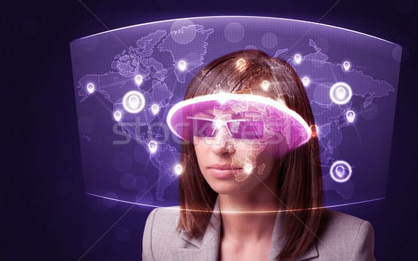 Stockfoto: Jonge · vrouw · naar · futuristische · kaart · computer