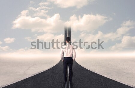 Business woman looking at road that goes up in the sky Stock photo © ra2studio