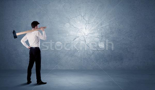Iş adamı duvar çekiç iş ofis Stok fotoğraf © ra2studio
