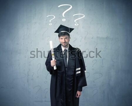 Jovem pós-graduação adolescente pontos de interrogação cabeça Foto stock © ra2studio
