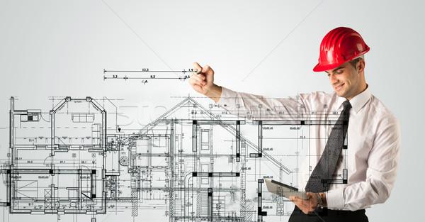 Jungen architekt zeichnung haus plan planung for Architekt planung