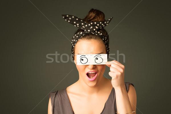 молодые глупый девушки глядя рисованной глаза Сток-фото © ra2studio