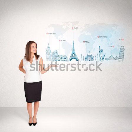 Mujer de negocios mapa famoso ciudades estudiante Foto stock © ra2studio
