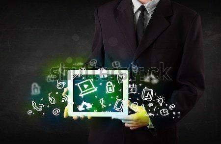 человек таблетка зеленый СМИ иконки Сток-фото © ra2studio