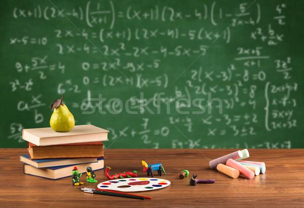 Matematika osztály diák iskola asztal vissza az iskolába Stock fotó © ra2studio