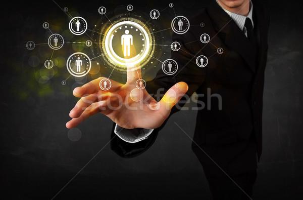Сток-фото: современных · бизнесмен · прикасаться · будущем · технологий