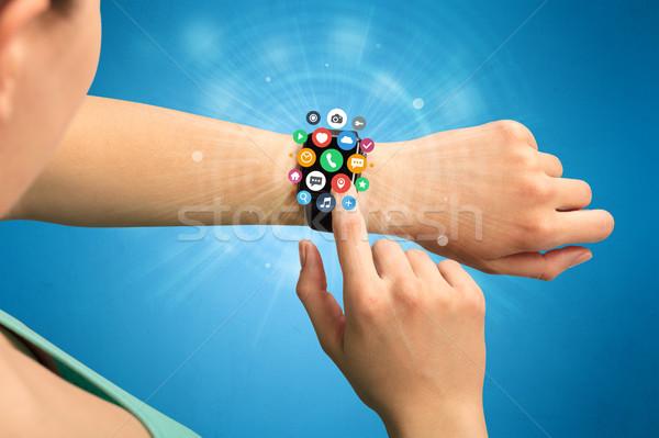 Smartwatch with application icons. Stock photo © ra2studio