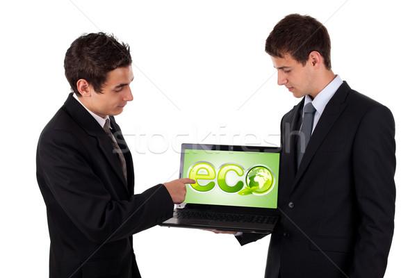 ストックフォト: ビジネスマン · ポインティング · エコ · ノートパソコン · 孤立した · 白