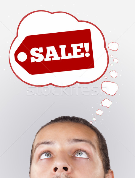 Jóvenes cabeza mirando envío para signos Foto stock © ra2studio