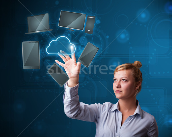 Güzel işkadını yüksek teknoloji bulut hizmet genç Stok fotoğraf © ra2studio