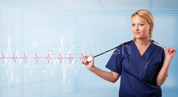 Güzel tıbbi dinleme kırmızı nabız kalp Stok fotoğraf © ra2studio