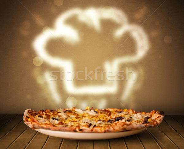 Delicious pizza with chef cook hat steam illustration Stock photo © ra2studio