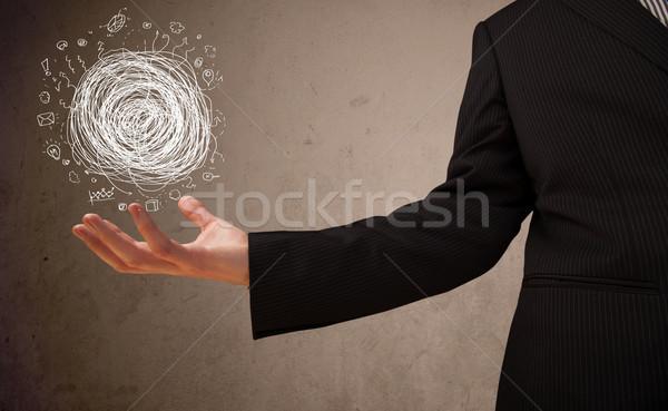 混沌 手 ビジネスマン 手のひら ビジネス ストックフォト © ra2studio