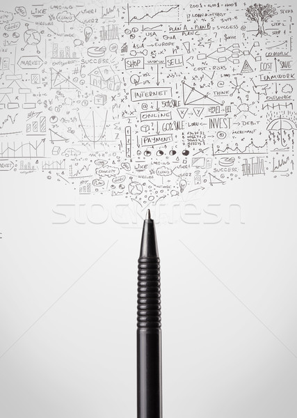 Pen close-up with sketchy diagrams Stock photo © ra2studio